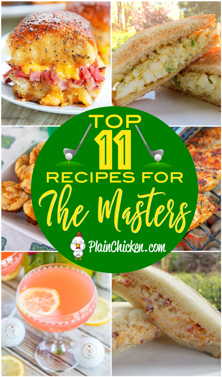 Recipes for watching The Masters golf tournament - egg salad, pimento cheese, Arnold Palmer cupcakes, Tiger tea, Arnold Palmer chicken, pimento cheese muffins, Cracked Out Egg Salad, Pimento Cheese pinwheels, baked pimento cheese dip, Azalea cocktail. These recipes are a MUST for watching the big golf tournament!! #TheMasters #eggsalad #pimentocheese