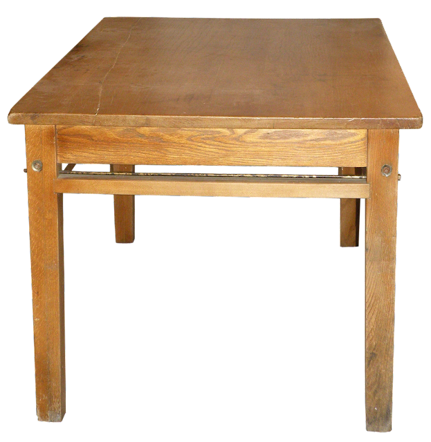 This large, rectangular oak and ash table was common to libraries in the early years. Today they use carrels in many libraries.