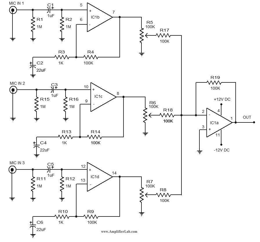 Microphone Pre-amplifier Circuit Diagram Using Lm348 Ic