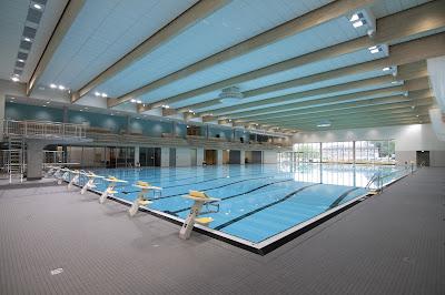 Schwimmhalle des Blus mit 50 Meter-Bahnen.