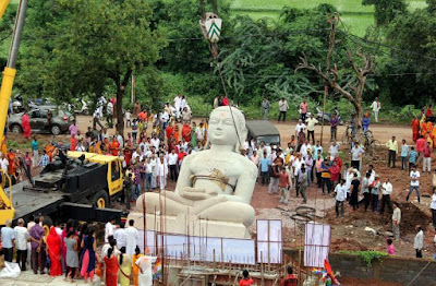 Chandraprabhu God installed 21 feet high and 80 tonnes of statue in Murli Durg