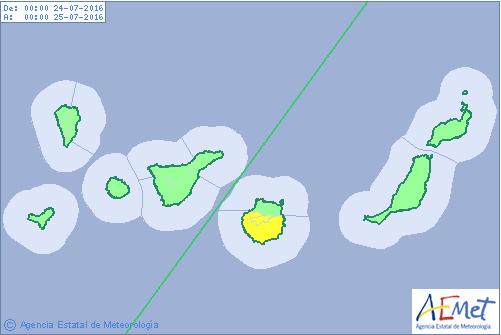 Aviso amarillo por temperaturas máxima, Gran Canaria 24 julio