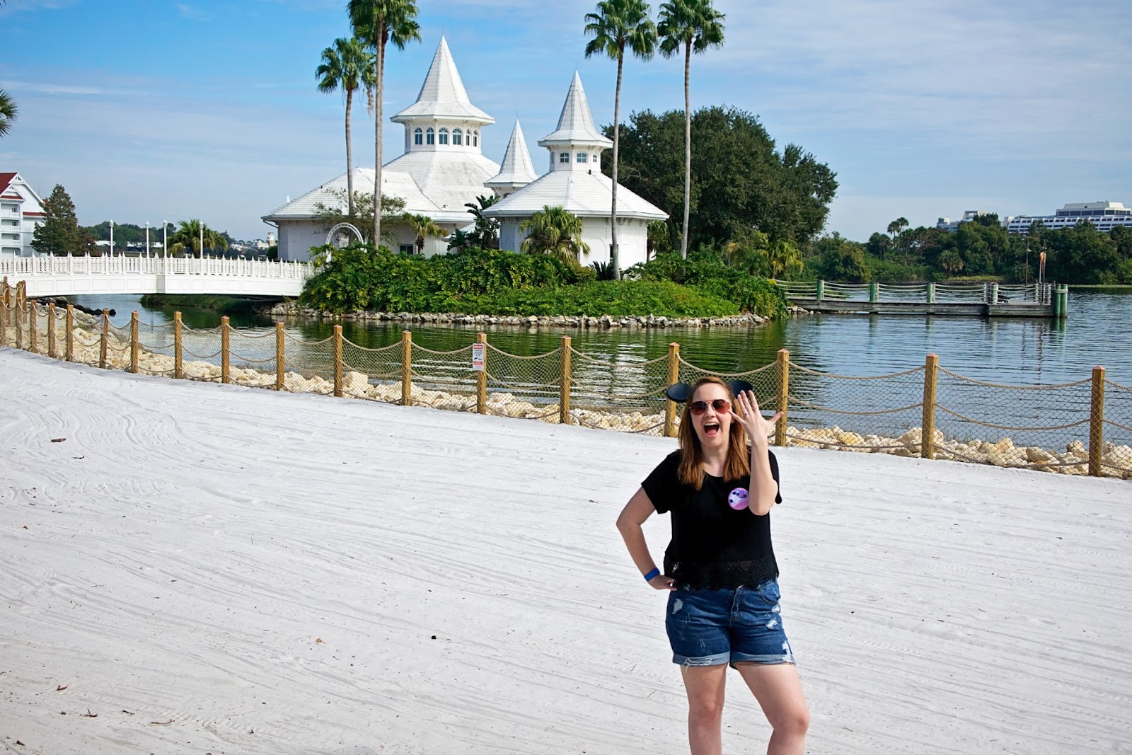 Engaged on the beach at Walt Disney world Wedding Pavilion