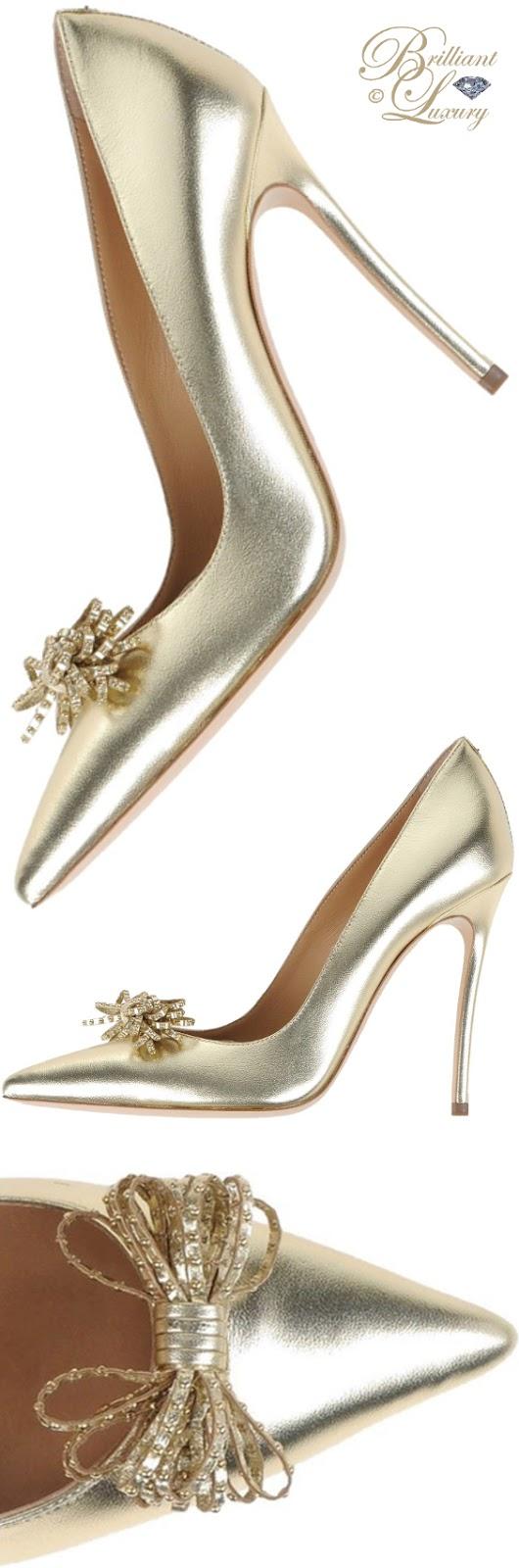 Brilliant Luxury ♦ Dsquared2 golden evening pumps