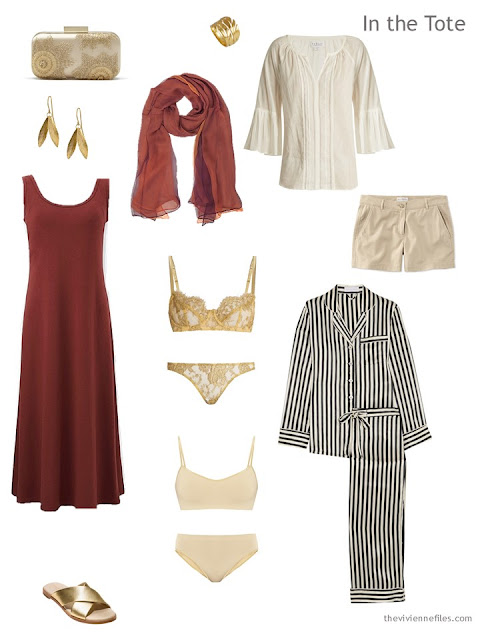 travel capsule wardrobe for warm weather in black, ivory and rust