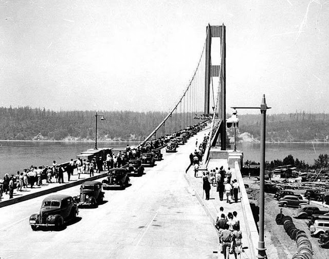 1 July 1940 worldwartwo.filminspector.com Tacoma Narrows Bridge opening
