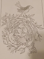 coloring pages bird nest 3 eggs tree sticks leaves swirl nature beautiful spring