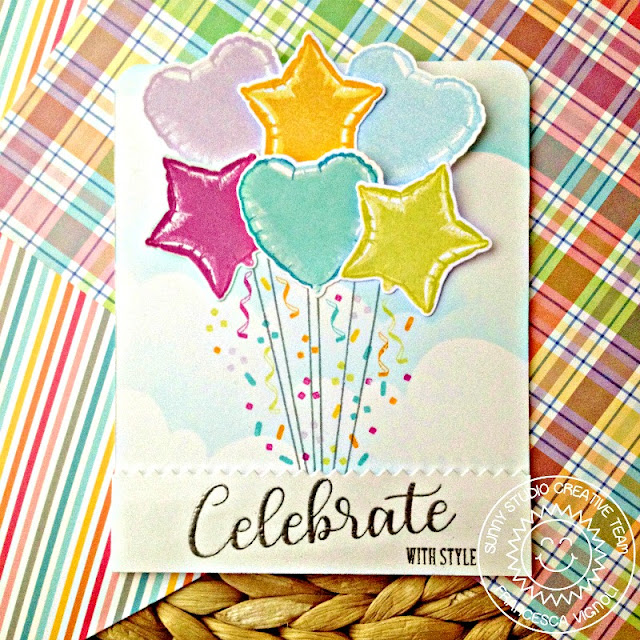 Sunny Studio Stamps: Bold Balloons Birthday Balloon Bouquet Card by Franci Vignoli