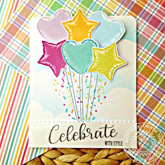 Sunny Studio Stamps: Bold Balloons Birthday Balloon Bouquet Card by Franci Vignoli