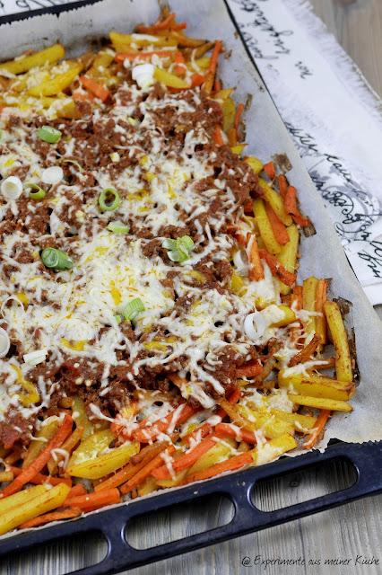 Experimente aus meiner Küche: Überbackene Gemüsepommes mit Hackfleischsoße