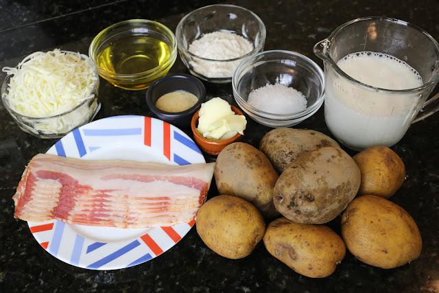 Ingredientes para patatas con bechamel