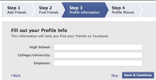 new facebook account registration form