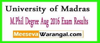 University of Madras M.Phil Degree Aug 2016 Exam Results