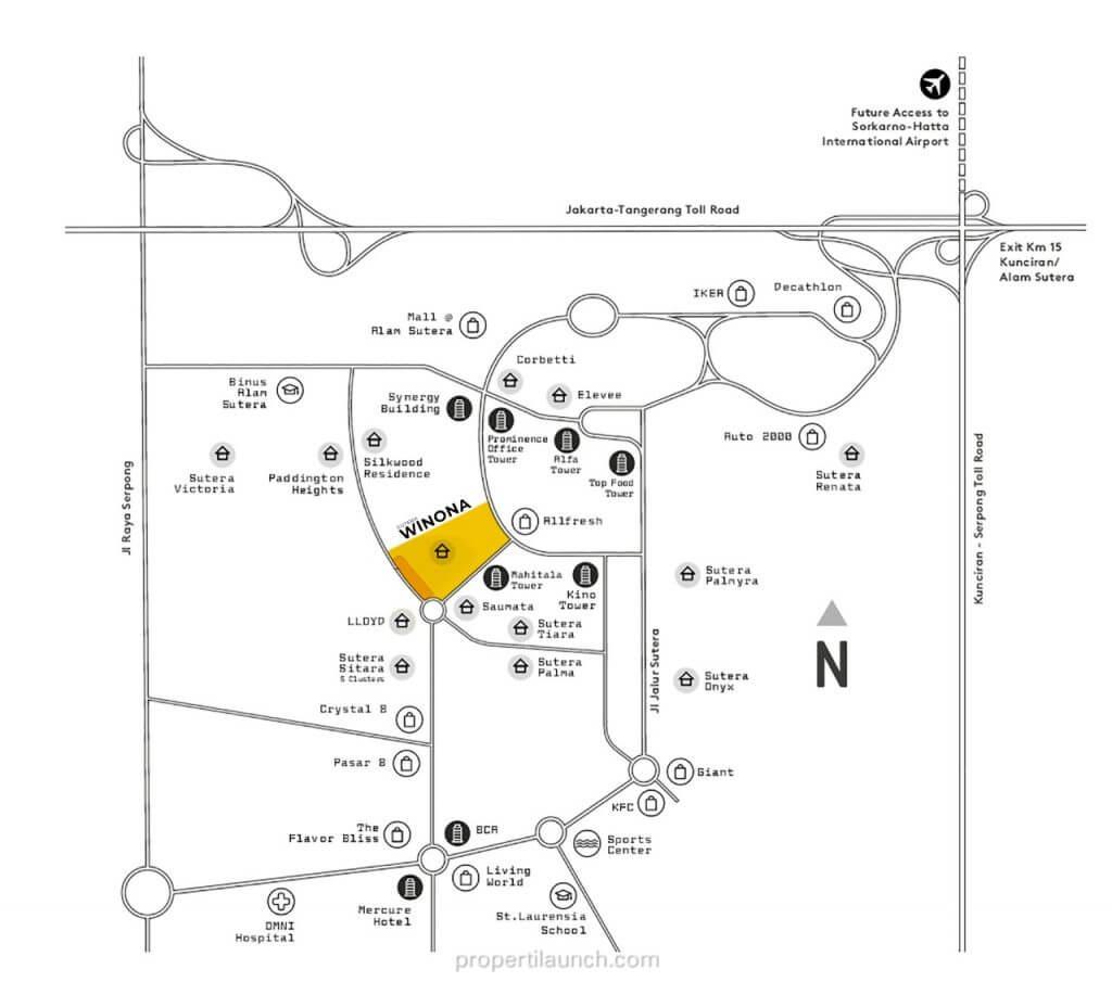 Lokasi Cluster Sutera Winona Alam Sutera