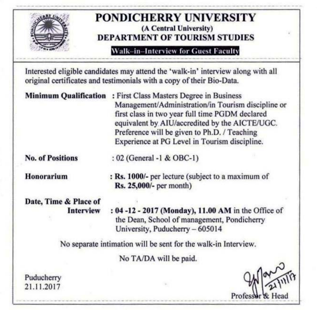 Pondicherry University Recruitment 2017 (6 Vacancies) Walk-In