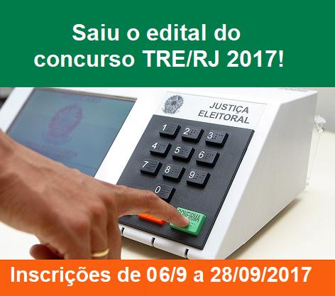 Edital do concurso TRE-RJ 2017, para 11 vagas e cadastro de reservas