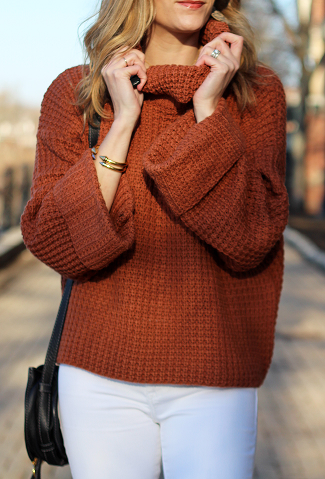 turtleneck knit sweater #springsweater #waffleknitsweater