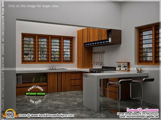 modern house elevation with interior renderings kerala
