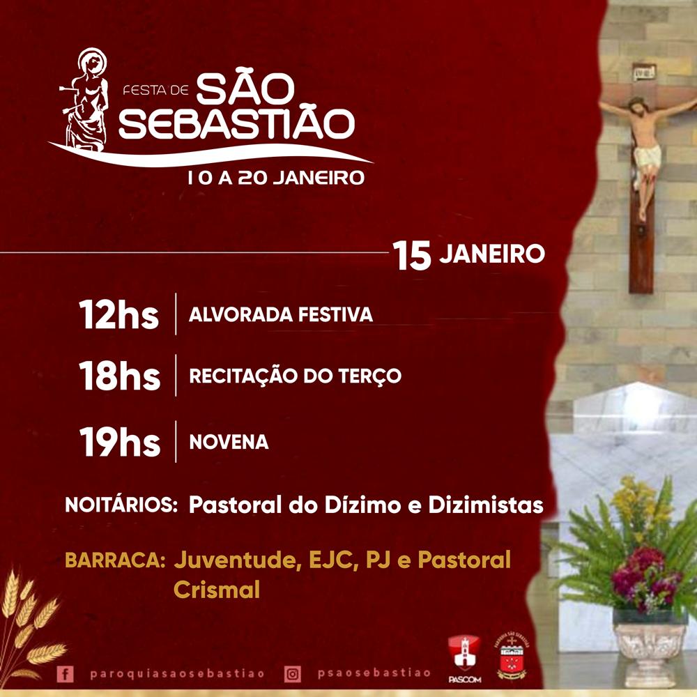 Confira a Programação da Festa de São Sebastião, dia 15