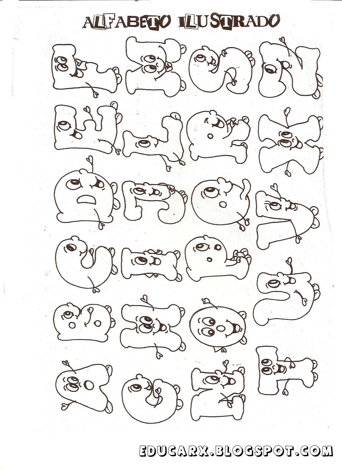 Modelo de letras alfabeto ilustrado