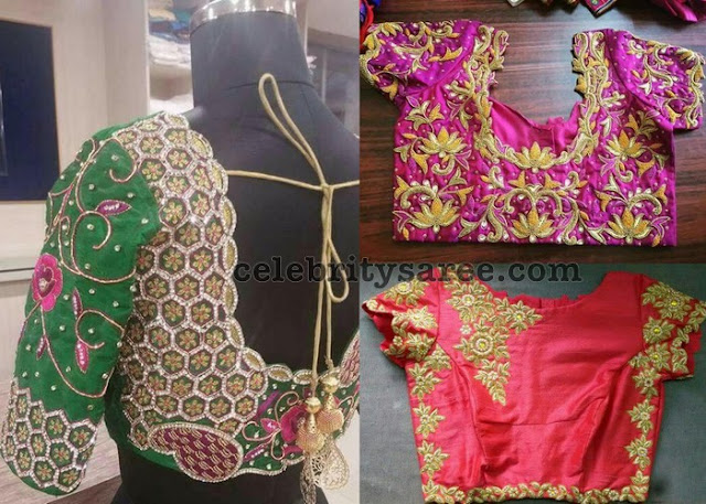 Rose and Lotus Zardosi Work Blouses