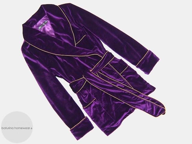 Womens purple velvet robe luxury dressing gown smoking jacket