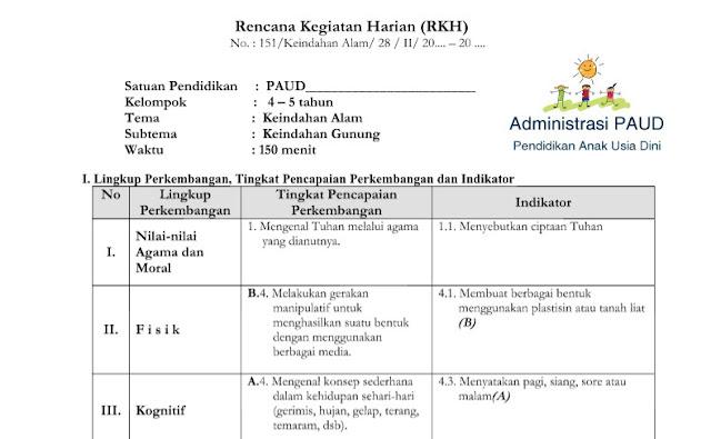 RKH PAUD Alam Semesta Keindahan Gunung Kurikulum 2013