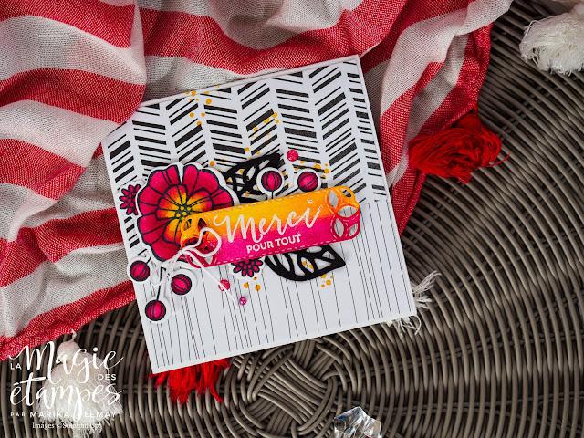 Carte avec le jeu Falling flowers et les framelits Fleurs de mai Stampin' Up!