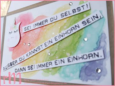 Stampin' Up! rosa Mädchen Kulmbach: Einhorn und Regenbogen zum Geburtstag mit Labeler Alphabet, Eulenstanze, Kreisstanzen und Places You'll go