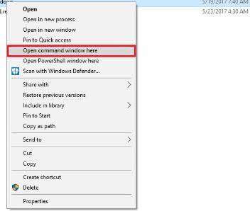 Shift + klik kanan lalu kalian pilih open command windows here.