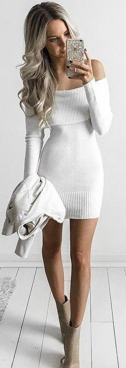 #Sweater #Outfits Best White off Shoulder Sweater Outfits