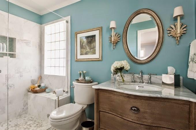 Casa de banho decorada em azul -> Decoração De Casas De Banho Em Azul