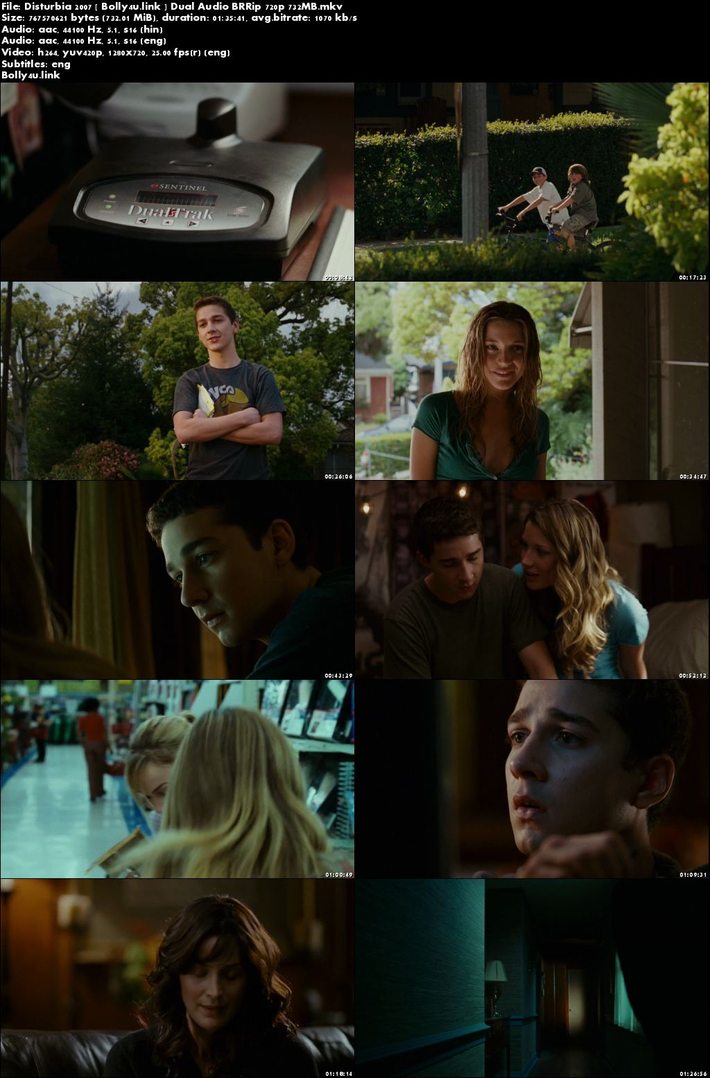 Disturbia 2007 BRRip 700Mb Hindi Dual Audio 720p Download