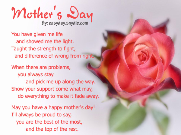 Happy mothers day poems from your daughter to mom for Mothers day poems that make you cry