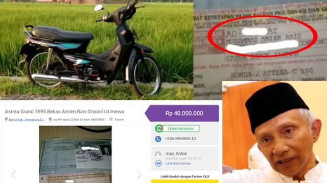 Sepeda Motor Bekas Amien Rais Dijual Rp 40 Juta, Banyak yang Tawar Harganya
