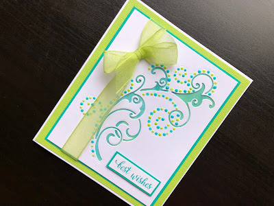 Hand made best wishes card with dot and drop die cutting and Nuvo drops.