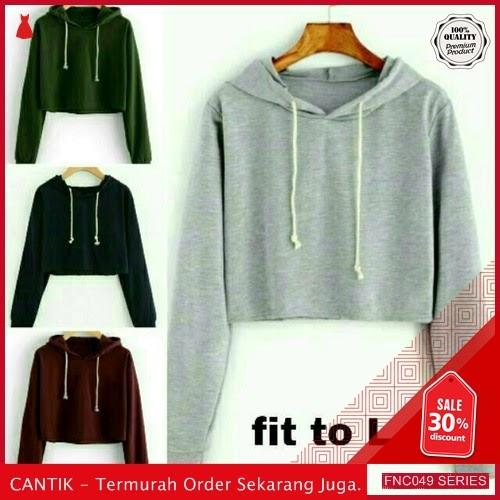 FNC049S38 Sweater Crop Basic Polos Wanita Hoodie Tali Serba 30 Ribuan