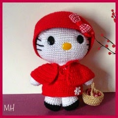 Kitty caperucita amigurumi