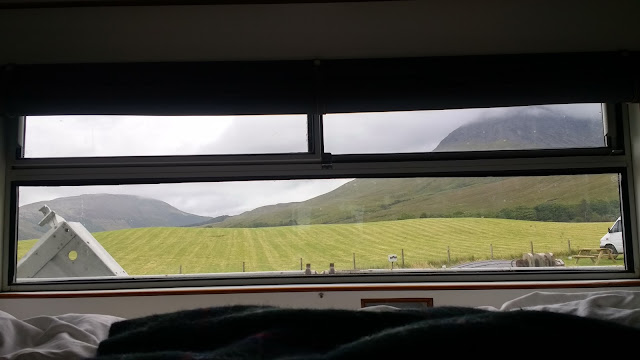 View from motorhome window at Glenbrittle campsite, Skye