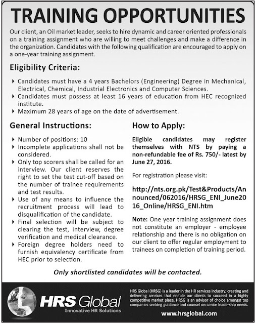 BE Jobs in Pakistan HRS Global Jobs 2016