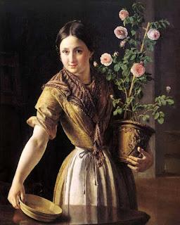 Тропинин Василий Андреевич Девушка с горшком роз