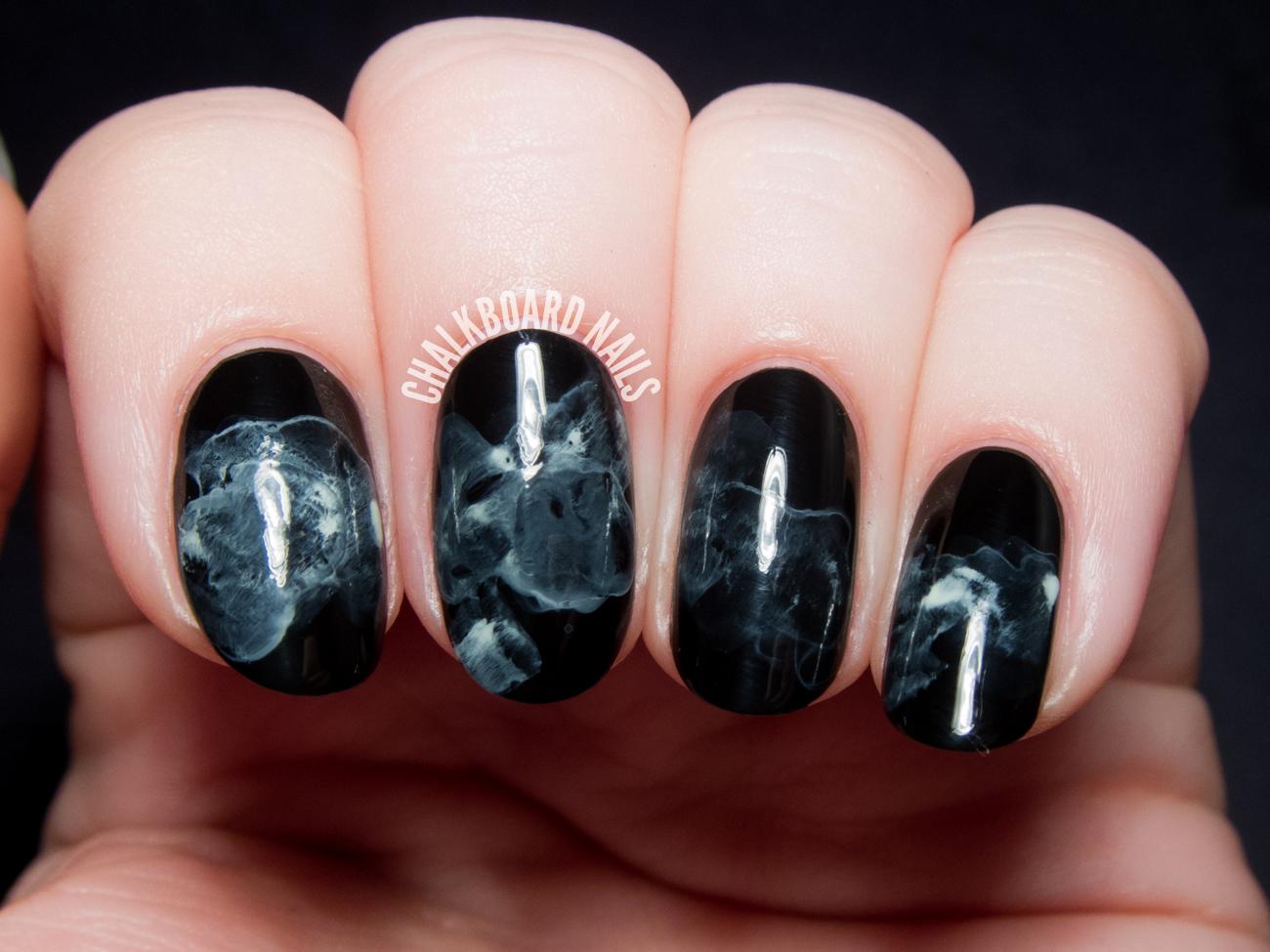 Tutorial Midnight Smoke Nail Art Inspired By The Sorcerer Heir Chalkboard Nails Phoenix