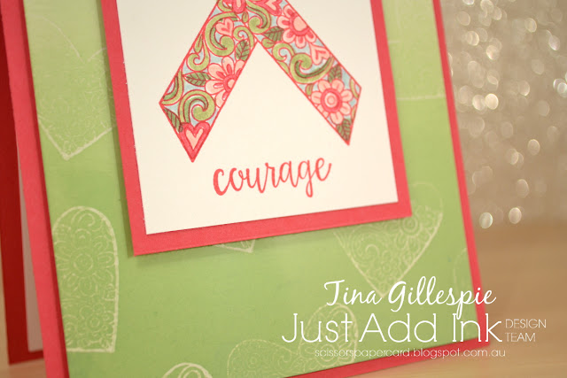 scissorspapercard, Stampin' Up!, Just Add Ink, Ribbon Of Courage, Ghosting Technique