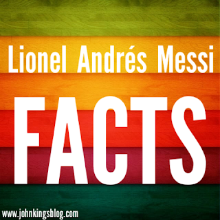 Text in white on a colored background written 'Lionel Andrés Messi Facts'