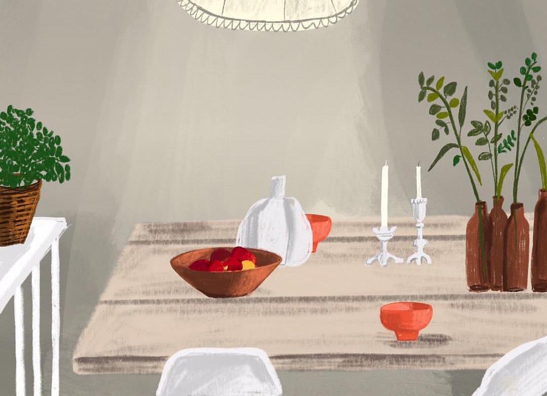 Gli interni illustrati di Patti Blau