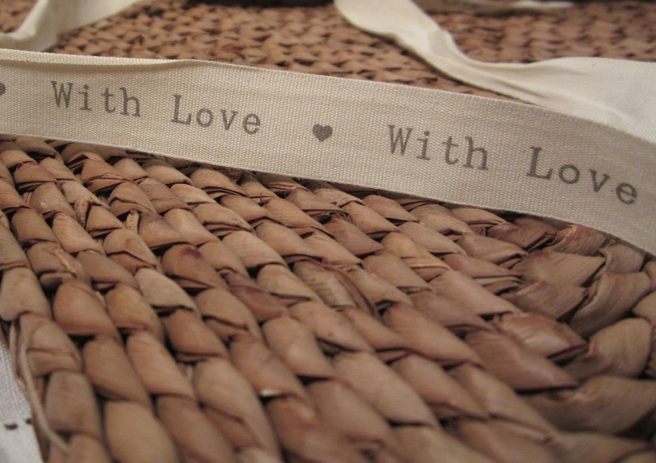 with love printed ribbon