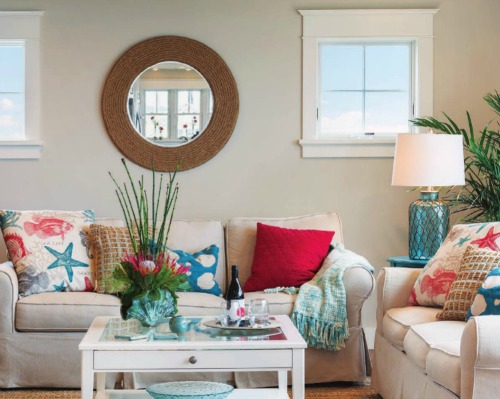 Round rope mirror above the sofa -shop the look!