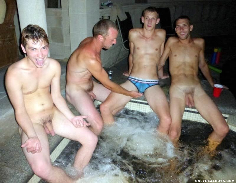 Guy naked in the hot tub