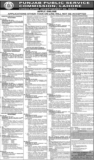 Government Jobs in PPSC Jobs in Pakistan 2016