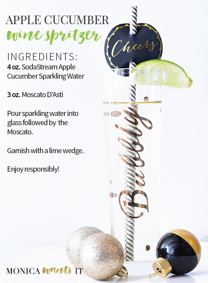 Apple Cucumber wine spritzer recipe using a SodaStream Power machine. (via monicawantsit.com)